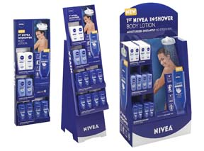 Nivea In-Shower Lotion Displays