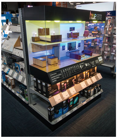 Phillips Wanted To Draw Attention Its Hue Line Of Lighting Products With An End Cap Display And Adjacent Inline Section At Best Buy