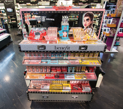 This Brow Transformation End Cap display presents the entire Benefit's Brow Collection to shoppers at Ulta Beauty