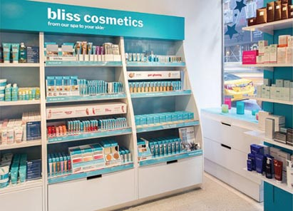 Displays Help Introduce Bliss's New Cosmetics Line