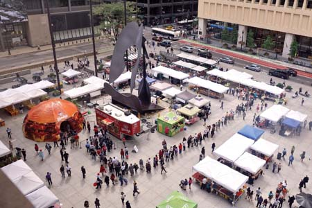 Wendy's Brings Giant Baconator Inflatable To Chicago's Daley Plaza Farmers Market