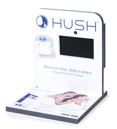 Hush Features Counter Display At Brookstone Stores