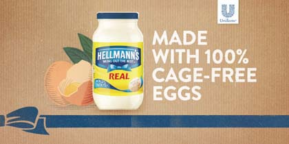 Hellmann's Mayonnaise & Mayonnaise Dressings Promote 100% Cage-Free Eggs In The U.S.