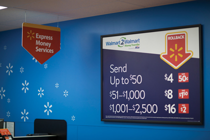 Walmart Displays Money Transfer Services