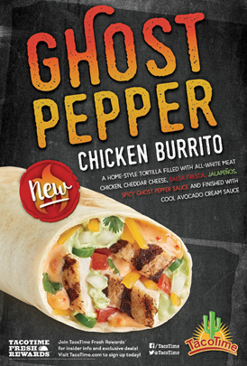 TacoTime Promotes New Ghost Pepper Chicken Burrito
