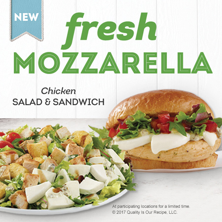 Wendy's Launches Fresh Mozzarella Chicken Salad And Sandwich Duo