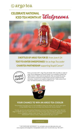 Argo Tea And Walgreens Celebrate Iced Tea Month With Sweepstakes