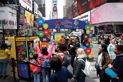 M&M's Caramel Launch Celebrated With AR Gaming Arcade In NYC's Times Square