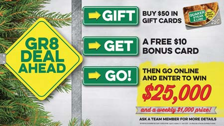 Quaker Steak & Lube Runs Holiday Giveaway Sweepstakes Promotion