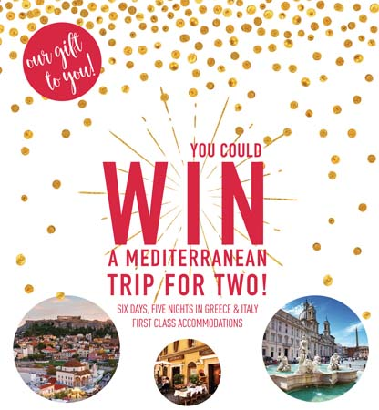Zoës Conducts Mediterranean Trip Holiday Sweepstakes